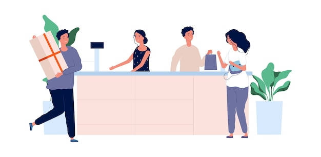 Klantenservice concept. shoppers met producten staan aan de balie. vector winkel team mannelijke vrouwelijke platte karakters. illustratie kassier vrouw en man werknemer, kassa verkoopster