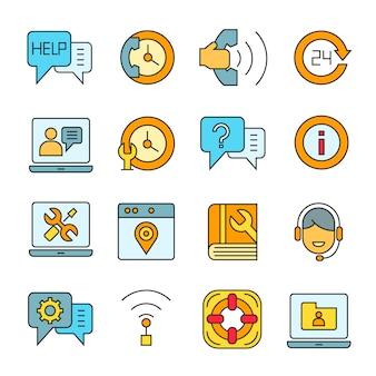 Klantenservice en communicatie pictogrammen