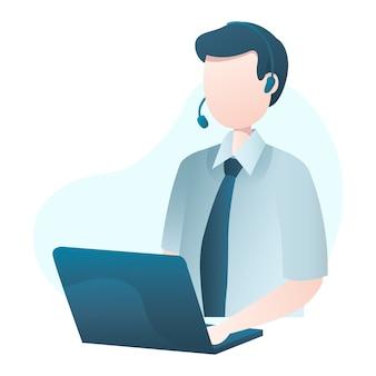 Klantenservice illustratie met man met headset en typen op laptop