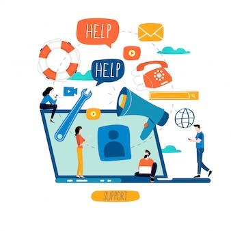 Klantenservice, klantenservice, call center concept Premium Vector