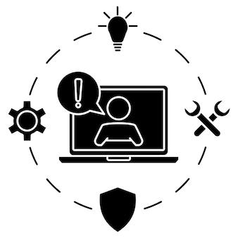 Klantenservice man met tekstballon op laptopscherm online technische ondersteuning