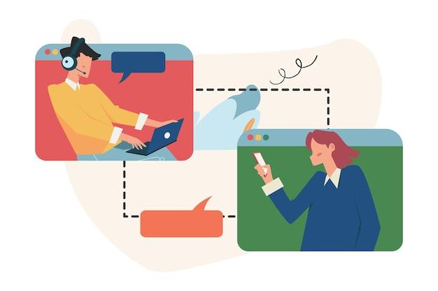 Klantenservice, mannelijke hotline-operator adviseert klant, online wereldwijde technische ondersteuning