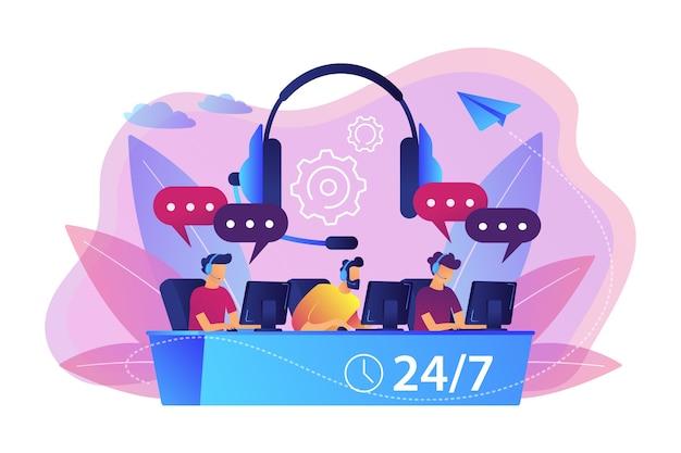 Klantenservice operators met headsets op computers die klanten 24 voor 7 raadplegen. callcenter, afhandeling oproepsysteem, virtueel callcenterconcept.