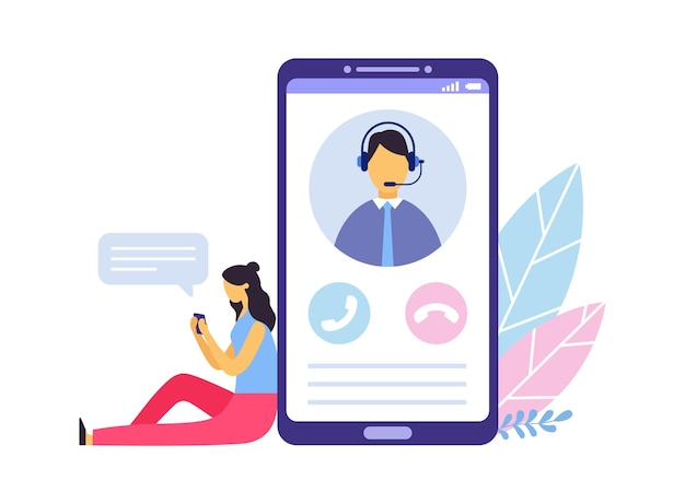 Klantenservice. persoonsadviseur en behulpzame adviesdiensten. vrouw zit naast grote smartphone en chat met persoonlijke klantassistent. scherm met operator in headset vectorillustratie