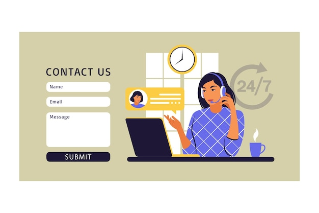 Klantenserviceconcept. contacteer ons formulier. ondersteuning, assistentie, callcenter. vector illustratie. platte stijl