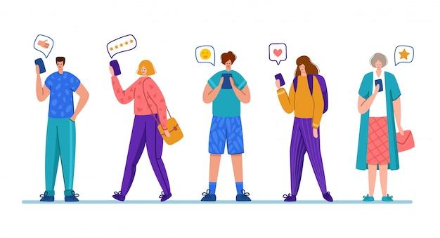 Klantfeedback of review concept, online service evaluatie, tevreden klanten met mobiele telefoons