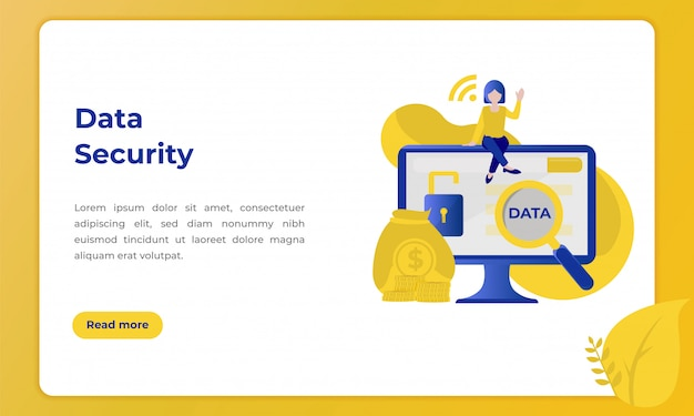 Klantgegevensbeveiliging, illustratie met het thema van de banksector