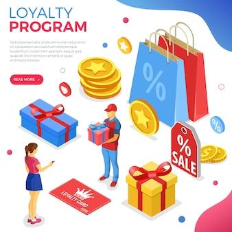 Klantloyaliteitsprogramma's als onderdeel van klantretourmarketing. geschenkdoosbeloning, retouren, rente, punten, bonussen. ondersteuning geeft cadeau volgens loyaliteitsprogramma. isometrisch