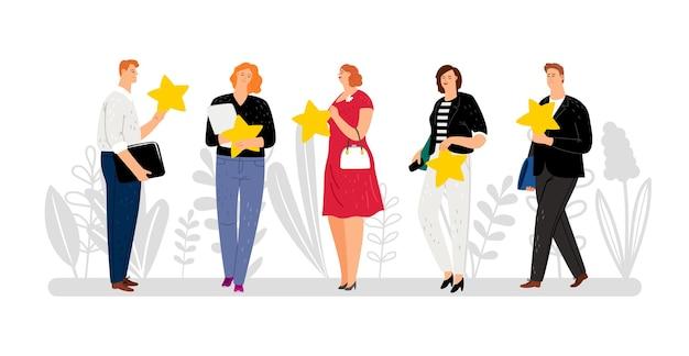 Klantrecensies, feedback, vijf sterren. vlakke mensen met gouden sterrenillustratie