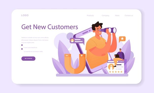Klantrelatie webbanner of bestemmingspagina. commercieel programma voor klantenbehoud. pr-campagne voor klantenbinding. idee van marketingcommunicatie. platte vectorillustratie