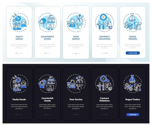 Klantverklaring onboarding mobiele app paginascherm met concepten