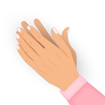 Klappen menselijke handen geïsoleerd. applaus, bravo. gefeliciteerd, complimenten, erkenningsconcept.