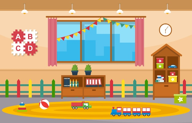Klas interieur onderwijs elementaire kleuterschool kinderen school illustratie