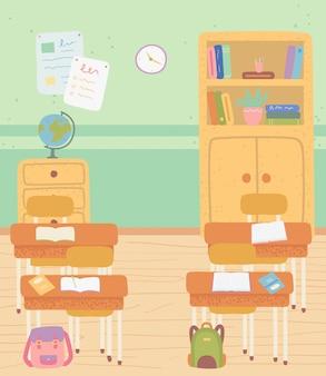 Klas met schoolmeubilair bureaus en planken