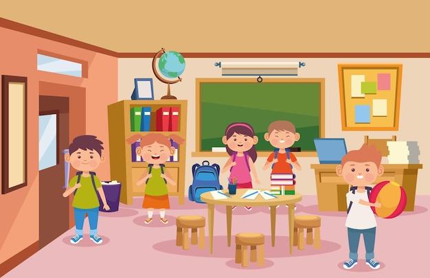 Klaslokaal en kinderen