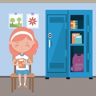 Klaslokaal en meisje van school