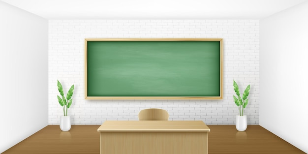 Klaslokaal met groen bord op wit