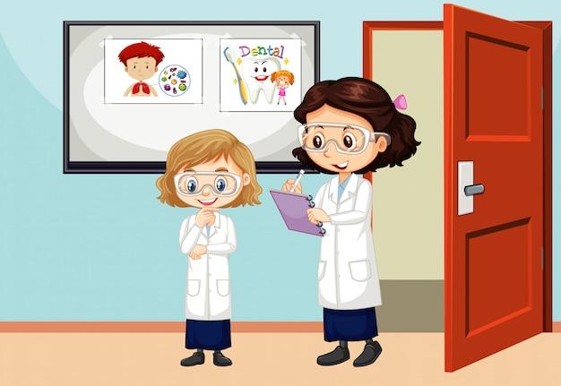Klaslokaalscène met binnen leraar en student
