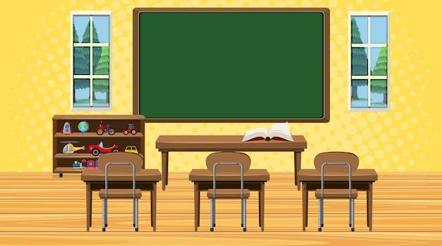 Klaslokaalscène met raad en bureaus