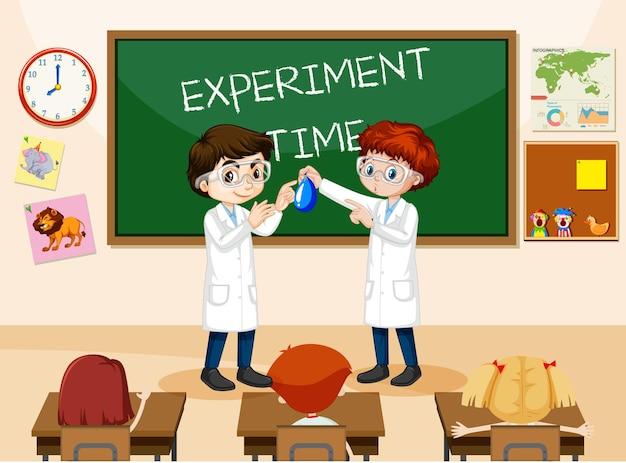 Klaslokaalscène met studenten die laboratoriumjas dragen