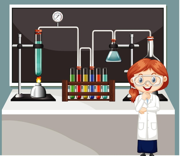 Klaslokaalscène met wetenschapsstudent en materiaal