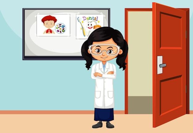 Klaslokaalscène met wetenschapsstudent erin