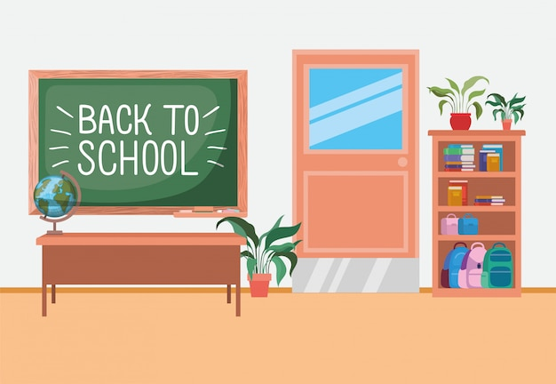 Klaslokaalschool met schoolbordscène