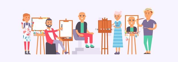 Klasse met de illustratie van studentenschilders. mensen leren tekenen. kunststudio groep kunstenaars schilderij man die op stoel zit.