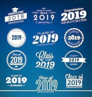 Klasse van 2019 typografische afstuderen ontwerpset