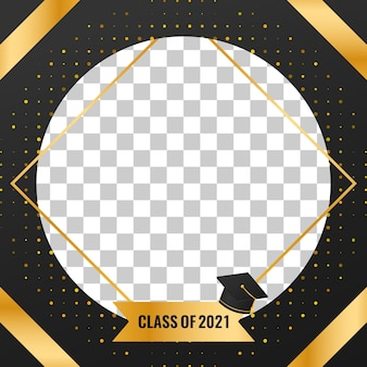 Klasse van 2021 afstudeerbannerontwerp met gouden luxe halftone achtergronddecoraties