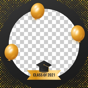 Klasse van 2021-ontwerp met ballon en hoek gouden halftoondecoraties