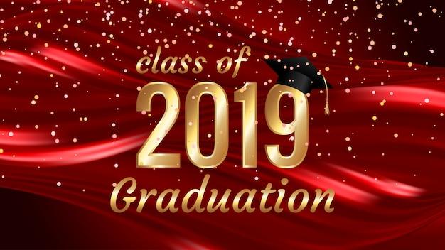 Klasse van het ontwerp van de de graduatietekst van 2019 voor kaarten, uitnodigingen of banner