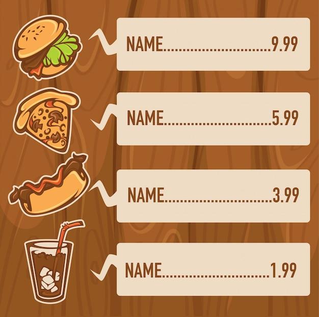 Klassiek amerikaans fastfood op houten voor uw menu