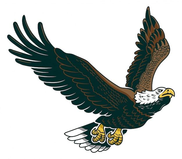 Klassiek amerikaans wild adelaarembleem in de vlieg.