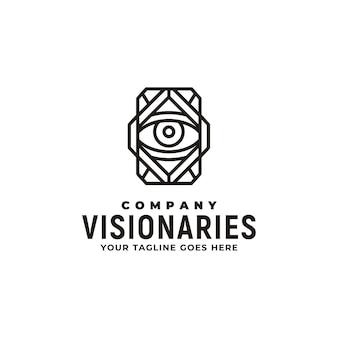 Klassiek art deco van eye voor illuminati, illusie, geheim, schat, magie, visie, mysterie, visueel en optisch logo-ontwerp