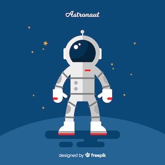 Klassiek astronautenkarakter met plat ontwerp