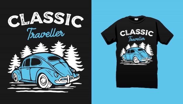 Klassiek autot-shirtontwerp