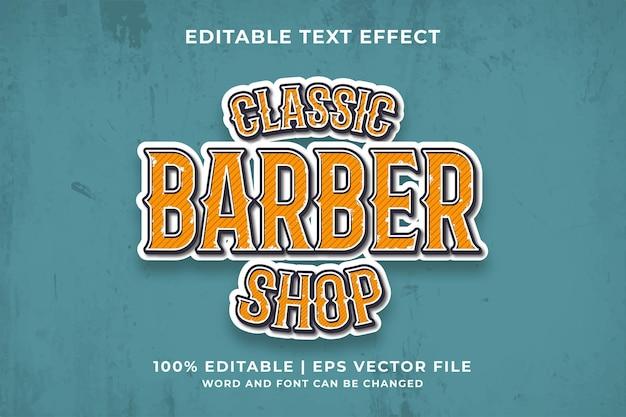 Klassiek bewerkbaar teksteffect van barbershop vintage 3d-sjabloonstijl premium vector