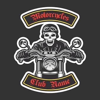 Klassiek bikerborduurwerk voor jas. motorfiets thema