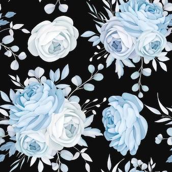 Klassiek blauw bloemen naadloos patroonontwerp