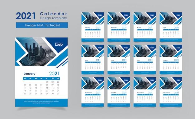 Klassiek blauw nieuwjaar 2021 wandkalender ontwerpset