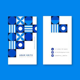 Klassiek blauw vormenvisitekaartje