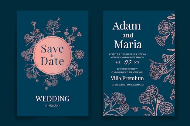 Klassiek bloemenoverzicht hand getrokken luxe bruiloft uitnodiging ontwerp