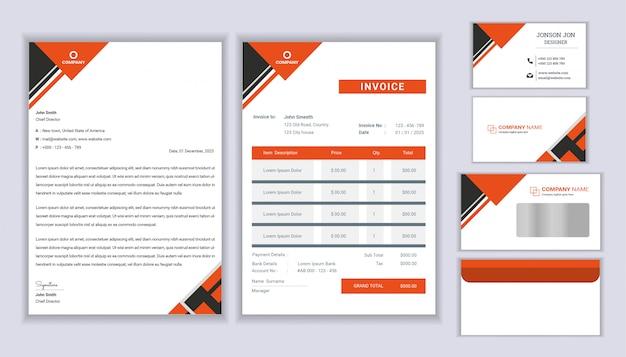 Klassiek briefpapier bedrijf huisstijl ontwerp met briefhoofdsjabloon, factuur en visitekaartje.