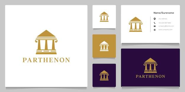 Klassiek gerechtsgebouw pijler parthenon logo ontwerp