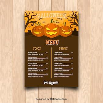 Klassiek halloween menu met pompoenen