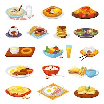 Klassiek hotel ontbijt eten menu maaltijd set van illustraties. koffie, gebakken eieren, spek, toast en sinaasappelsap, croissant, jam en ontbijtgranen. restaurant traditioneel ontbijt eten.