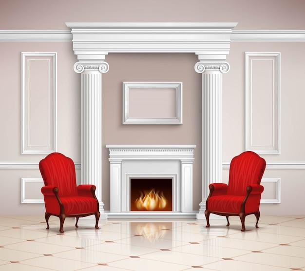 Klassiek interieur met open haard en fauteuils