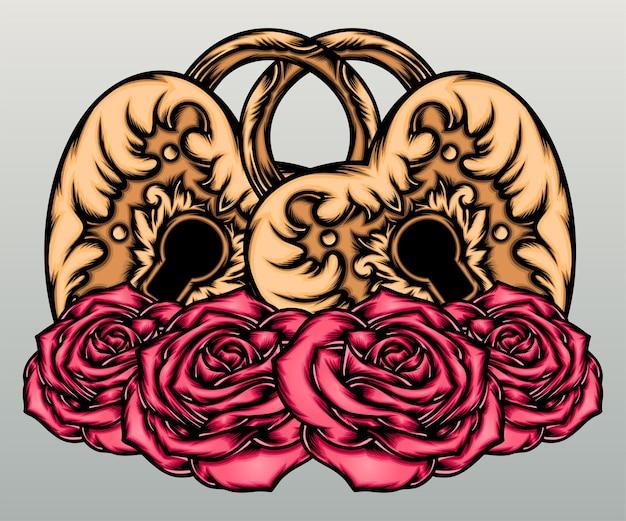 Klassiek liefdesslot met rozen.