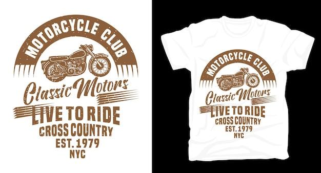 Klassiek motorclub typografie t-shirt design